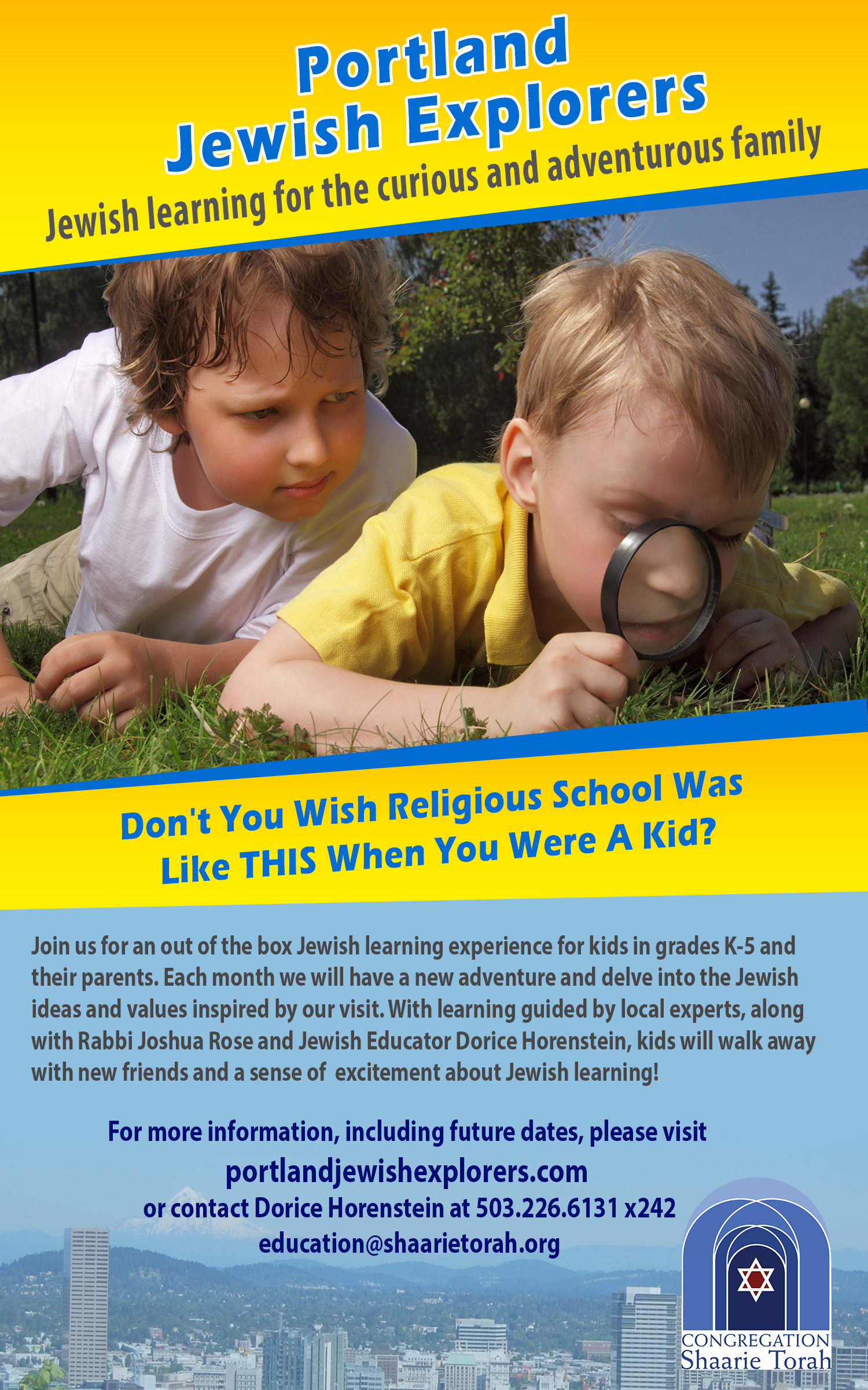 Portland Jewish Explorers Flyer 2015-16 ad for Odysseey 5x8 UPDATE